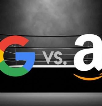 """[Tribune] <span class=""""highlight"""">Amazon</span>, à pas de géants sur les plates bandes de Google"""