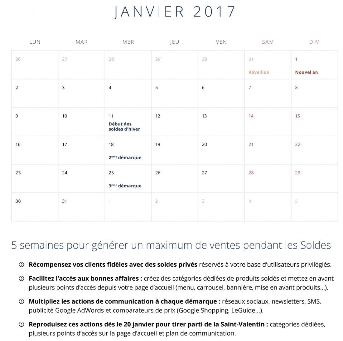Le calendrier 2017 des e commer ants - Les soldes janvier 2017 ...