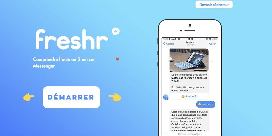 Capture d'écran du site de l'appli Freshr