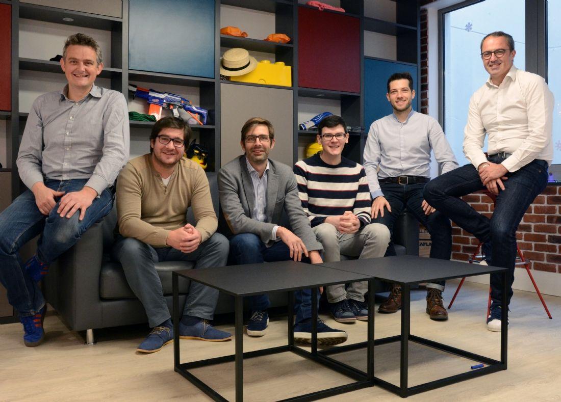 Olivier HEMAR (cofond. et COO), Julien FLAJOLLET (R&D), Jérome Fôret (cofond. et CRO), Jany BELLUZ (R&D), Geoffrey VION (Marketing & Digital) et Xavier LAGARRIGUE (cofond. et CEO).