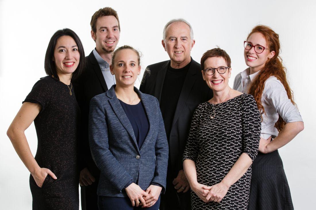 Céline Franco (datascientist), Nicolas Karst (CEO), Cécilia Kroiss (R&D), Dr Jean-Pierre Alibeu (directeur médical), Patricia Abraham (dir. commerciale et marketing) et Alix Meunier (ingénieure)
