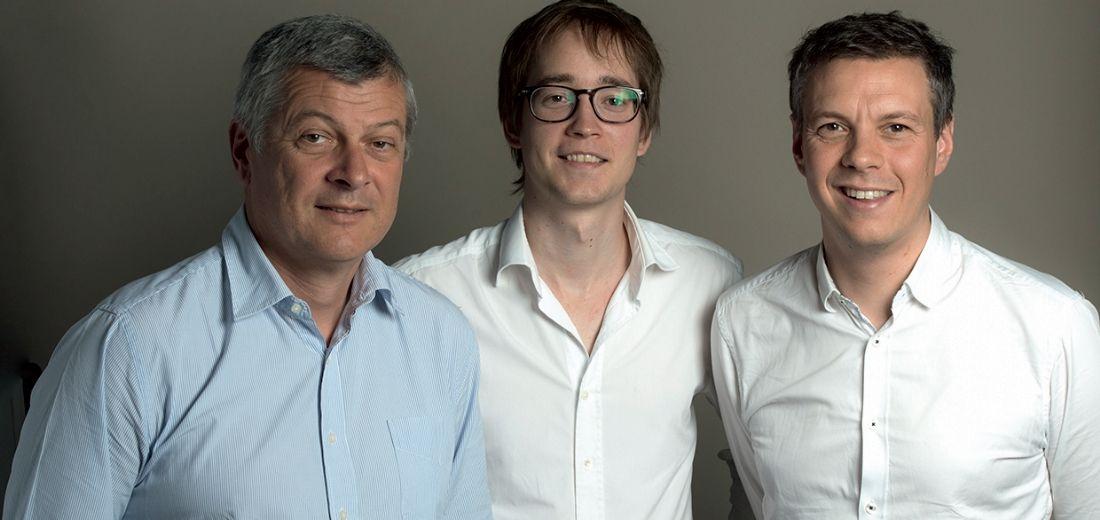 Au milieu, Raphaël Meyer (p-dg), 29 ans, Gilles Moreau, 35 ans, et Hervé Ory, 58 ans