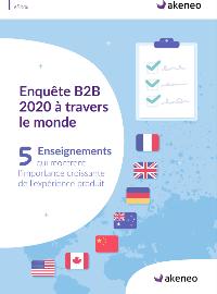 Couverture livre blanc Enquête sur le commerce B2B à travers le monde en 2020 : 5 enseignements qui montrent l'importance croissante de l'expérience produit